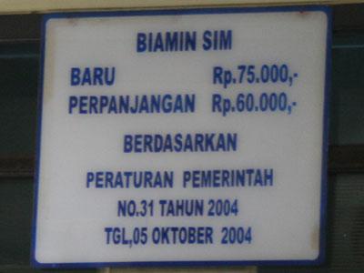 Tarif Pengurusan SIM