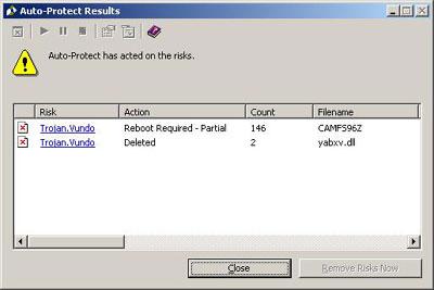 Symantec Auto-Protect Results